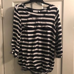 Black and White Striped 3/4 Tee with Pockets